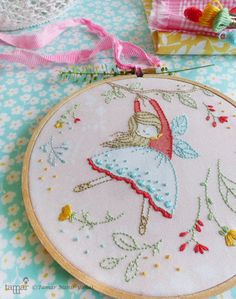 Embroidery Kit, Hand embroidery - Flying Fairy by TamarNahirYanai on Etsy https://www.etsy.com/listing/234986889/embroidery-kit-hand-embroidery-flying