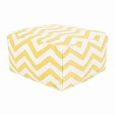 Your space will lighten up and relax a bit when you introduce this lively and fun pouf with yellow chevron stripes. So sit back and kick your feet up on this 100 percent wool cushion.  Find the Sunny Side Up Chevon Pouf, as seen in the Pattern Mashup Collection at http://dotandbo.com/collections/how-to-pattern-mashup?utm_source=pinterest&utm_medium=organic&db_sku=SRY0204