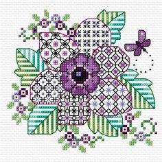 Well, 12 weeks, and now we can add the final touch to complete my design of the blackwork anemone. Blackwork Cross Stitch, Cat Cross Stitches, Blackwork Embroidery, Cross Stitch Borders, Cross Stitch Flowers, Cross Stitch Kits, Cross Stitch Designs, Cross Stitching, Cross Stitch Embroidery