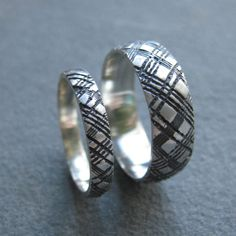 alternative PLAID wedding band sterling silver SET by ballandchain, $150.00