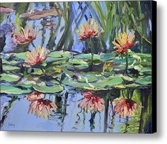 Lily Pond Reflections Canvas Print / Canvas Art By Donna Tuten