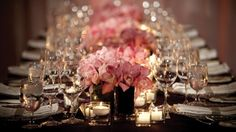 Soft pink roses and candlelite decor Weddings @FSToronto