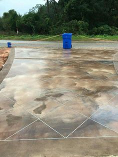 Stained concrete driveway... wow Stained Concrete Driveway, Concrete Driveways, Concrete Patio, Walkways, Cement, Driveway Design, Driveway Landscaping, Outdoor Landscaping, Driveway Ideas