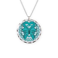 Teal Butterfly Ribbon Necklace on CafePress.com