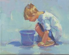DO I SEE FISH 11? Little boy with his bucket, beach scene original painting 8 x 10 Lucelle Raad Art