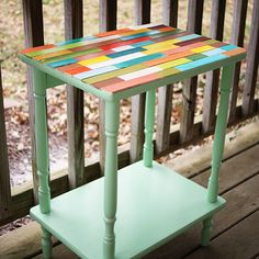 """One of my favorite things to do is find curbside """"trash"""" and give it love, transforming it into something unique. My friend Beckie calls this whole process """"Roadkill Rescue"""" and even has a website. Upcycled Furniture, Painted Furniture, Diy Furniture, Tv Tray Makeover, Furniture Makeover, Painted Table Tops, Painted Wood, Home Crafts, Diy Home Decor"""