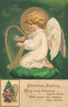 Christmas Greetings Angel Artist Signed Clapsaddle Antique Postcard (J23703)