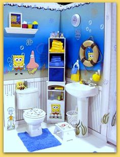 Baño decorado en azul para niños.
