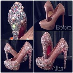 DIY Diamonds and Pearls Heels Pumps Makeover! Bling Shoes, Glitter Shoes, High Heel Boots, Shoe Boots, High Heels, Crazy Shoes, Me Too Shoes, Shoe Makeover, Shoe Refashion