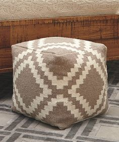 This Gray Geometric Square Wool Pouf is perfect! #zulilyfinds