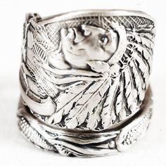 Spoon Ring of Native American Indian Chief and Corn in by Spoonier, $72.00