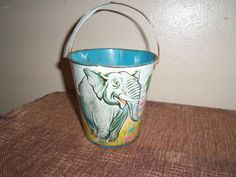 Vintage Antique Tin Toy Beach Pail  US Metal Toy MFG. Co by doyourememberwhen on Etsy