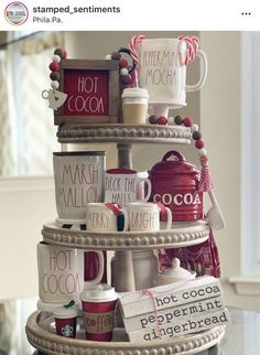 My winter tiered tray received a little Valentine's Day Love! Happy Wednesday y'all, let's make a great one! 3 Tier Stand, Tiered Stand, Galvanized Tray, Kitchen Tray, Tray Styling, Fourth Of July Decor, Coffee Bar Home, Hot Cocoa Bar, Christmas Kitchen