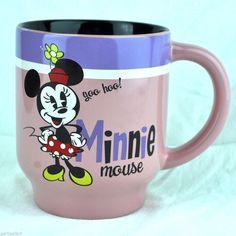 Minnie Mouse Yoo-Hoo! Disney Store Pink Coffee Mug Tea Cup Cute Shopping Pie Eye