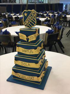 Blue and gold celebration cake Celebration Cakes, Cake Decorating, Graduation, Celebrities, Desserts, Gold, Blue, Shower Cakes, Tailgate Desserts