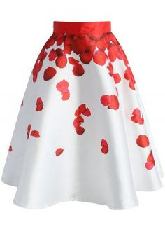 Red Rose Petals Printed Midi Skirt