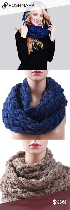 Coming Soon!! How cute are these!! Adorable infinity cable knit ring scarves. You can wear doubled around the neck, over the head and around the neck, or just single long loop... can't wait to get these in. Cold weather is coming Soon!! Order yours now!! Accessories Scarves & Wraps