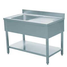 EQ Commercial Stainless Steel 1 One Compartment Utility Prep Left Sink 47 x 24