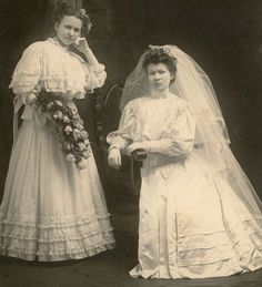Bride and bridesmaid c.1905