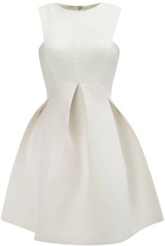White Round Neck Sleeveless Flare Pleated Dress