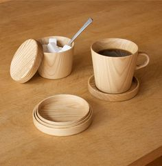 Hokkaido company makes drinking vessels from whole pieces of wood, hand turned on a lathe until they are ultra-thin. Beautiful to drink from.
