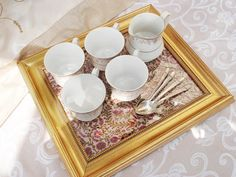 Turn old Picture Frames into Serving Trays