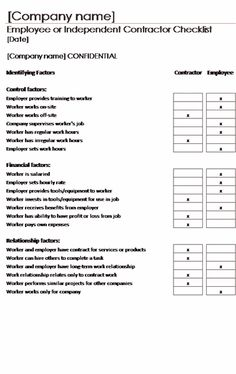 Employee or independent contractor checklist - Templates