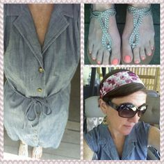 #chambray dress, #floral scarf, #sandals, #outfit, #ootd, #casual