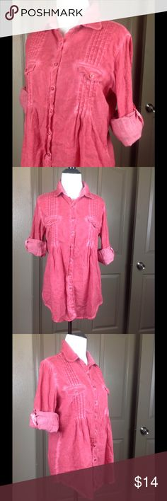 Aventura Top Button Down Organic Cotton Medium Great condition distressed rose red button down adjustable long sleeves Thin organic 100% cotton 26 inch length 20 inch across bust Aventura Tops Blouses