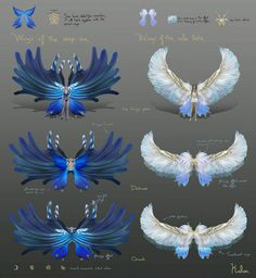 Design by Kalua Anime Weapons, Fantasy Weapons, Fantasy Images, Fantasy Art, Wings Drawing, Dream Anime, Yandere Anime, Dark Art Drawings, Wings Design