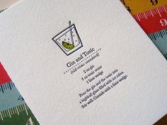 Letterpress Notecard - Gin and Tonic at LuckyBeePress at Etsy Cocktail Menu, Cocktail Recipes, Cocktails, Menu Design, Book Design, Menu Book, Gin And Tonic, Letterpress Printing, Grafik Design