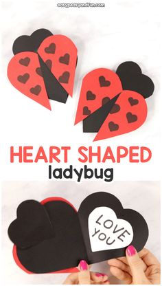 Heart Ladybug Craft - Easy Peasy and Fun Valentine's Day Crafts For Kids, Toddler Crafts, Preschool Crafts, Valentine Crafts For Kids, Valentines Diy, Holiday Crafts, Ladybug Crafts, Barn Wood Crafts, Valentine's Day Diy