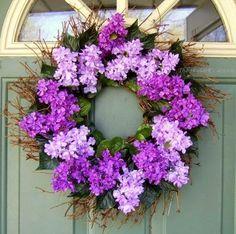 Spring Wreath Mothers Day Wreath For my Mom Wreath Crafts, Diy Wreath, Grapevine Wreath, Purple Wreath, Floral Wreath, Hydrangea Wreath, Corona Floral, Mothers Day Wreath, Lilac Flowers