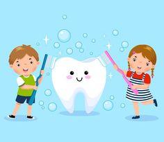 Niño y niña cepillarse los dientes blanc... | Premium Vector #Freepik #vector #medico #salud #nino #dental Kids Dentist, Dental Kids, Dental Art, Bus Cartoon, Cartoon Art, Dental World, Greeting Card Template, Kids Ride On, Math For Kids
