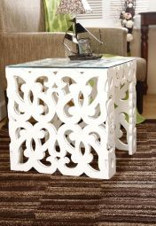 Brix Side Table With Carving