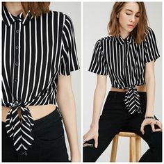 "Self-tie Striped Shirt Never worn; just washed. Cropped self-tie top. Buttoned front. Length is approx 17"". ❌NO TRADES❌ Forever 21 Tops Crop Tops"
