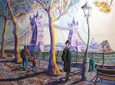 TOWER BRIDGE (LONDRES). Oleo sobre lienzo. 92 x 73 x 3,5 cm.