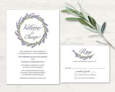Hey, I found this really awesome Etsy listing at https://www.etsy.com/listing/253295754/lavender-wreath-wedding-invitation