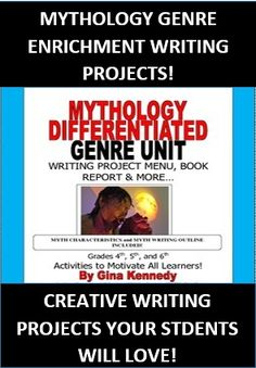 EXCELLENT MYTHOLOGY WRITING PROJECTS, BOOK REPORT OUTLINE AND ELEMENTS GUIDE! Student will choose to complete three out of nine creative writing myth projects. Engaging projects range from writing an introduction speech for a famous Greek God, writing a myth about human emotions, or writing about a creature like the Loch Ness monster. Also included is a page on myth characteristics, a separate myth writing planning outline page and a two page myth book report template.$