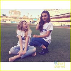Sabrina Carpenter and Rowan Blanchard at the LA Dodgers vs. Colorado Rockies at Dodgers Stadium