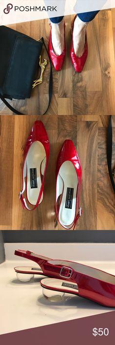 Selling this Stuart Weitzman red sling backs chunky lucite heel on Poshmark! My username is: bohemiancloset. #shopmycloset #poshmark #fashion #shopping #style #forsale #Stuart Weitzman #Shoes