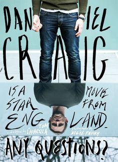 Daniel Craig spread from Esquire Malaysia // Art Direction by Rebecca Chew Creative Typography, Graphic Design Typography, Hand Typography, Hand Lettering, Graphic Posters, Daniel Craig, Editorial Layout, Editorial Design, Fashion Magazine Cover