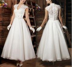 Vintage Elegant A-line Wedding Dress Bridal Gown Cap Sleeve Lace V-neck Prom Ball Gown Plus Size Wedding Dresses