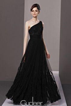 Black Sequine One-shoulder Sleeveless Long Evening Dress