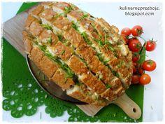 Ciągnący się chleb (z mozzarellą) krojony w kratkę (bloomin' bread) Tasty Bites, Salmon Burgers, Mozzarella, Avocado Toast, Grilling, Cooking Recipes, Vegetarian, Bread, Vegan