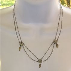 Double silver chain necklace Two silver chains connected with diamond like flowers and faux pearls Jewelry Necklaces