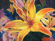 Yellow Lily metal print 11x14 Floral painting close up by artbylmr, $30.00