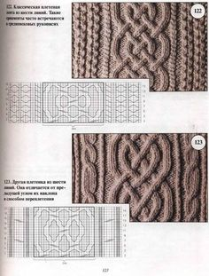knitting cable patterns ~ I love cables!Cable patterns - In Russian but can just use the provided charts.Pattern Classic braided belt of six lines. These ornaments are often found and medieval manuscripts. Pattern This pattern differs in weave and an Cable Knitting Patterns, Knitting Stiches, Knitting Charts, Lace Knitting, Knitting Designs, Knit Patterns, Knitting Projects, Stitch Patterns, Crochet Stitches
