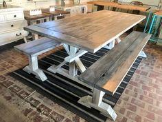Farmhouse Dining Table Set, Wooden Dining Set, Dining Room Table, Farmhouse Bench, Dining Sets, Farmhouse Furniture, Dining Rooms, Console Table, Farmhouse Decor