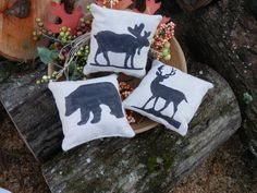 Northwoods Moose,Bear and Deer bowl filler or ornament mini pillows country decor set of 3. $12.00, via Etsy.